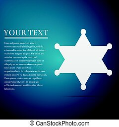 Hexagram sheriff star badge flat icon on blue background....