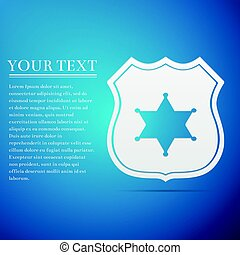 Police badge flat icon on blue background. Vector...