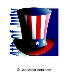 US Independence Day - 4th of July. Uncle Sam's hat. Symbol of freedom and liberty.