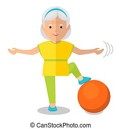 elderly woman with bal - Elderly woman perform exercises...