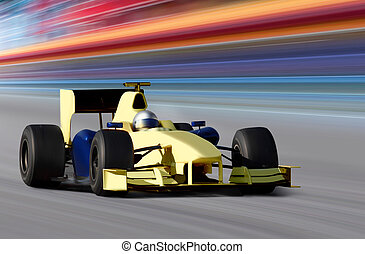 yellow bolide - formula one race car on speed track - motion...
