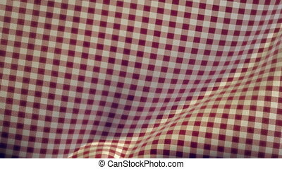 Kitchen Table Cloth Falling - A checked patterned red and...