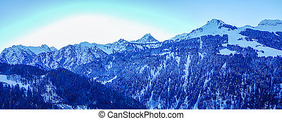 Winter Scenes Austria - Panoramic view of Vorarlberg area,...