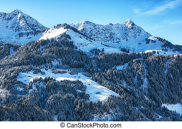 Wonderful winter landscape of mountains