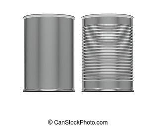 Metallic Ribbed Tin Cans. 3d render.