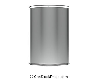 Metallic Ribbed Tin Cans. 3d render.