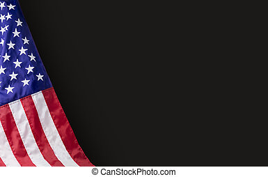 American flag on black background with copy space