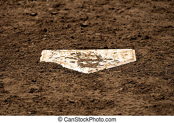 Baseball Home Plate on Field with Fresh Dirt