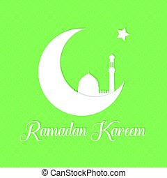 Vector Ramadan background. Ramadan Kareem greeting card template with crescent, star and silhouette of mosque.