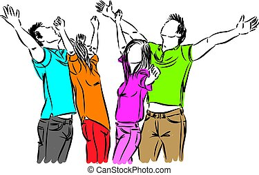 happy people together vector illustration