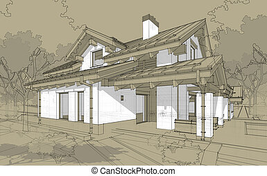 3D render sketch of modern cozy house in chalet style for...