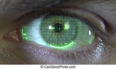Close-up eye with green hologram HD