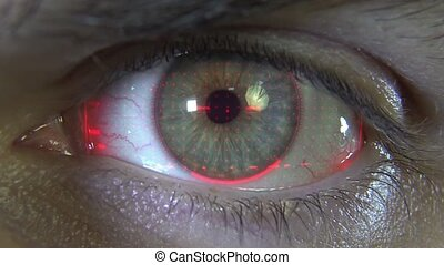 Close-up eye with red hologram HD