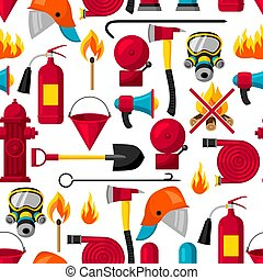 Seamless pattern with firefighting items. Fire protection...