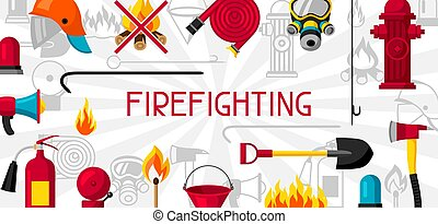 Banner with firefighting items. Fire protection equipment.
