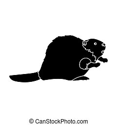 Canadian beaver. Canada single icon in black style bitmap,...
