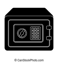 Realistic Steel safe.Safe under combination lock. Metal box is hard to open.Detective single icon in blake style bitmap, raster symbol stock illustration.