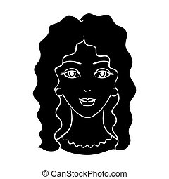 Avatar of a woman with curly hair.Avatar and face single icon in black style bitmap, raster symbol stock illustration.
