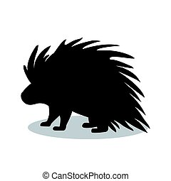 Porcupine rodent mammal black silhouette animal. Vector...