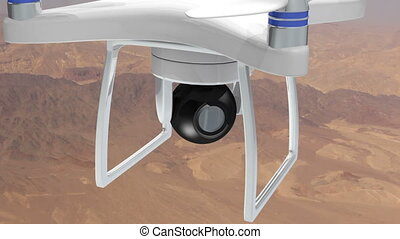Drone with camera shooting over desert terrain aerials -...
