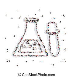 People walking in a Chemical bulb . 3D illustration. 3D...