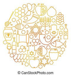 Rosh Hashanah Line Icon Circle. Vector Illustration of...