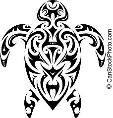 Maori style turtle shape - Turtle tattoo in Maori ethnic...
