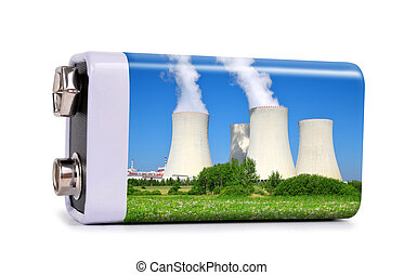 Battery with nuclear power plant isolated on white...