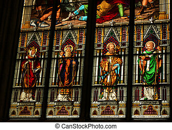 Saints - Christian art - Cologne cathedral stained glass in...