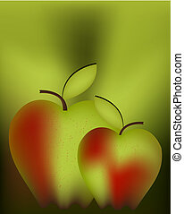 Vector illustration - Art illustration for apple , red green...