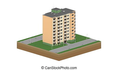 Isometric building in time lapse loop. - Architecture time...