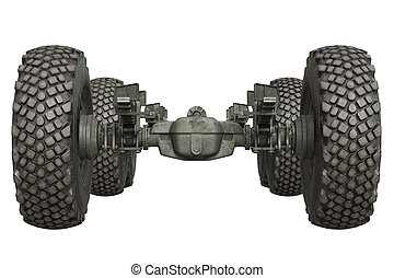 Truck military undercarriage, front view