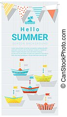 Hello summer background with colorful paper ship 4