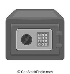 Realistic Steel safe.Safe under combination lock. Metal box is hard to open.Detective single icon in monochrome style bitmap, raster symbol stock illustration.