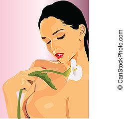 Woman with a lily - Vector graphic illustration of a woman...