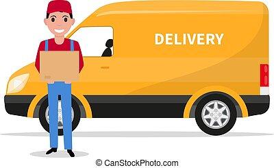 Vector cartoon delivery man with carton box a car