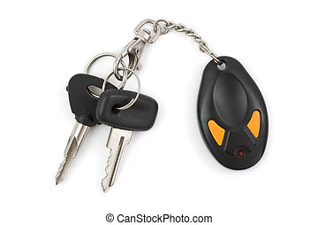Car keys and remote control isolated on white background