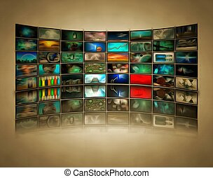 Mass media - Wall of TV's screens.