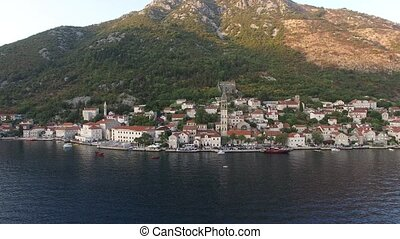The old town of Perast on the shore of Kotor Bay,...