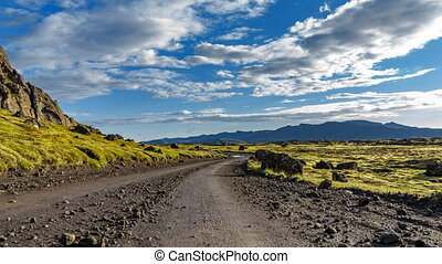 Moss-covered lava fields and track time lapse in Iceland -...