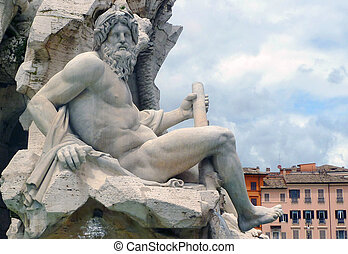 Zeus sculpture, by Bernini, Fontana dei Quattro Fiumi,...