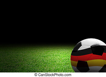 Soccer ball with germany flag on the soccer field