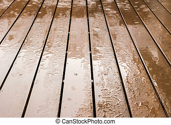 Wooden floor in rainy day