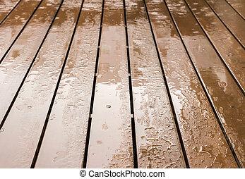 Wooden floor in rainy day