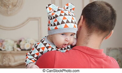 Young father playing with his son - Happy Young father...