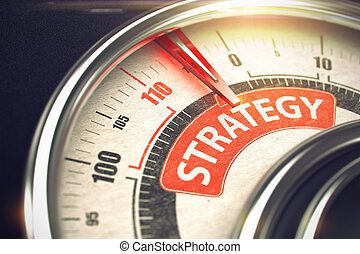 Strategy - Text on Conceptual Compass with Red Needle. 3D.