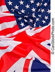 USA flag and UK Flag background.