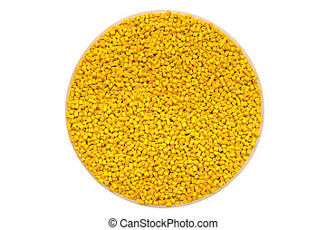 The plastic granules. Polymeric dye isolated on white...