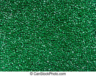 The plastic granules. Polymeric dye green for the background...