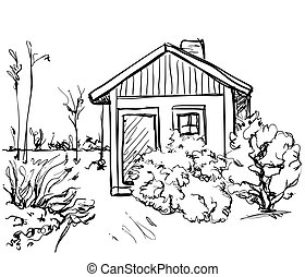 Cartoon hand drawing houses. Landscape sketch. Monochrome